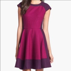 🇬🇧 Ted Baker Wool Blend 2 Tone Burgundy Dress